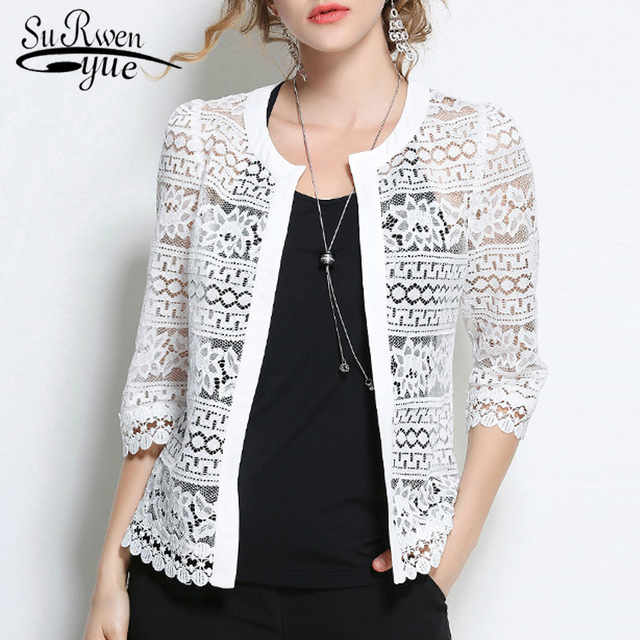 9a7a8ff4a1d35 Aliexpress.com : Buy Plus Size 5XL Women Lace blouse shirt 2018 fashion  white Cardigan shirt Summer tops Sexy Hollow lace women's clothing 883F 30  ...