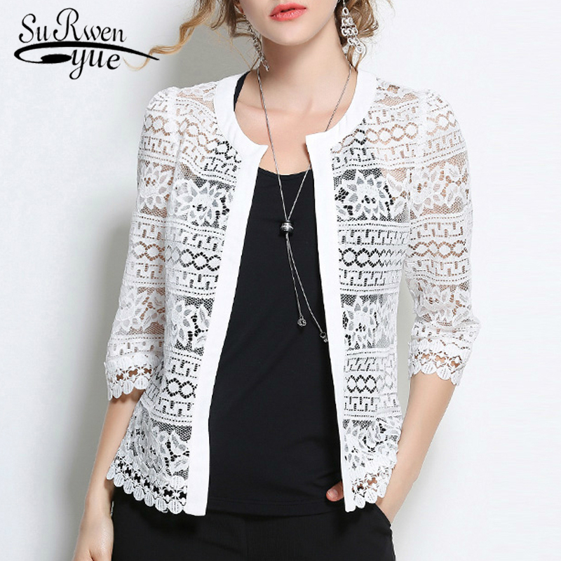 Plus Size 5XL Women Lace   blouse     shirt   2018 fashion white Cardigan   shirt   Summer tops Sexy Hollow lace women's clothing 883F 30
