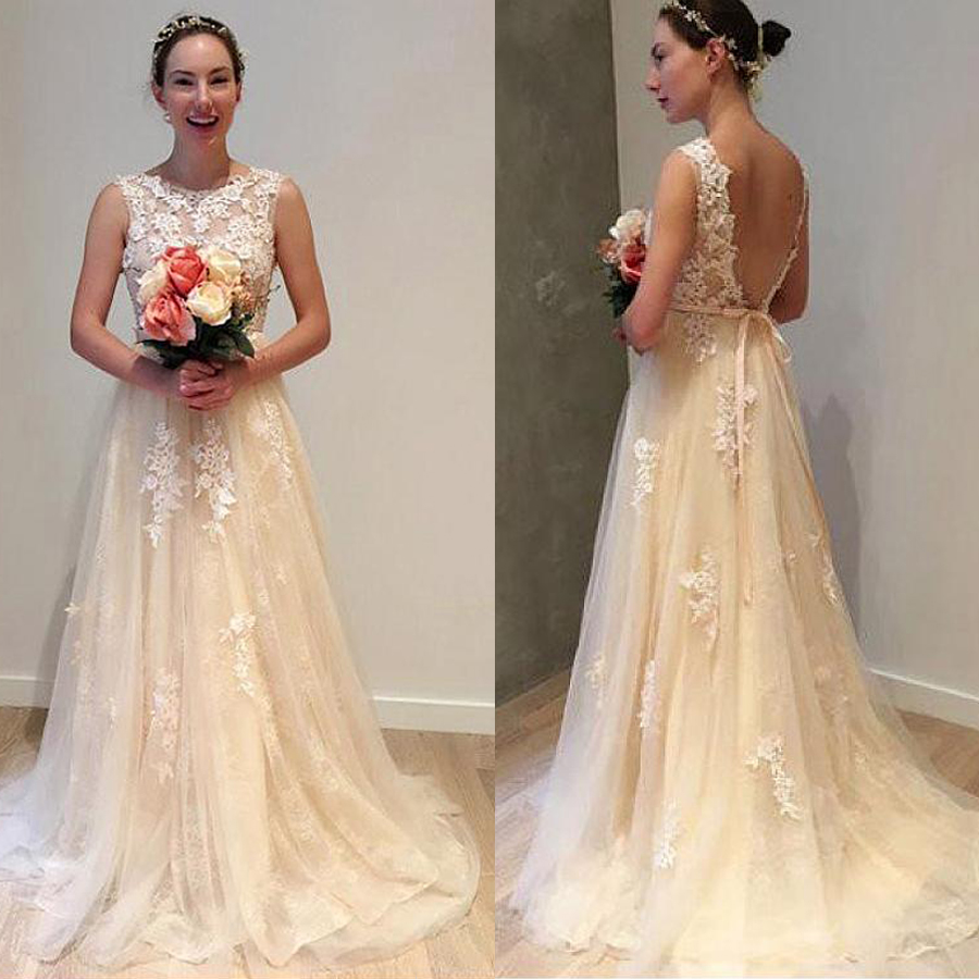 Lace Jewel Neckline A-line Wedding Dress With Beaded Lace Appliques Champagne Sleeveless Bridal Dress Vestido De Noiva Sereia