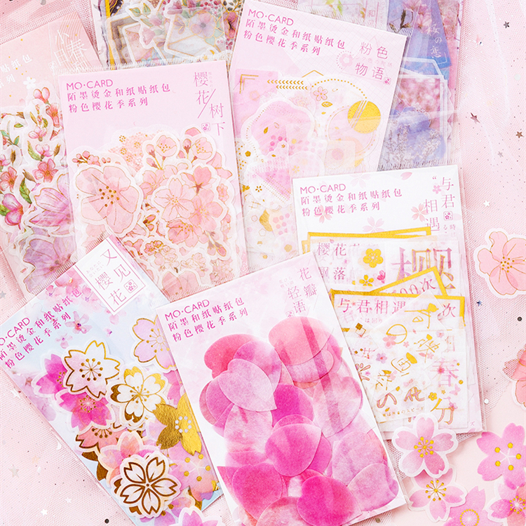 Pink Cherry Blossoms Gilding Sticker Decoration Diary Scrapbooking Label Sticker Kawaii Korean Stationaries Stickers