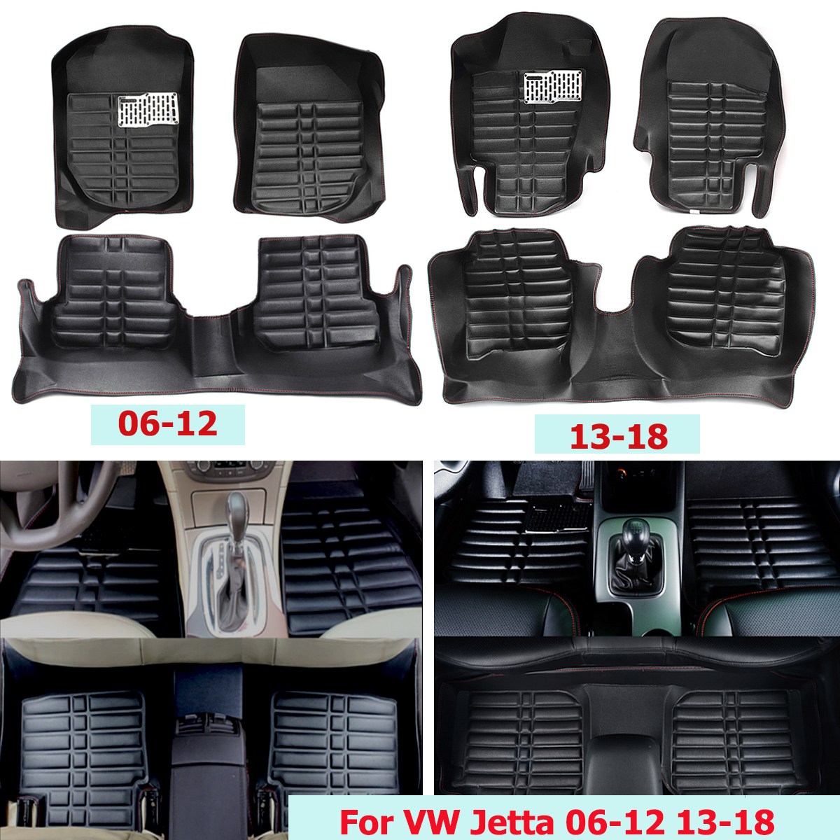 Car Floor Mat Foot Pad Front Rear Liner Non-slip Carpet Anti-slip Protective Interior Cover for VW Jetta 2006-2012 2013-2018 auto vehicle floor mat full set ridged anti slip universal car fit front rear 4 piece pvc rubber floor mat waterproof non slip