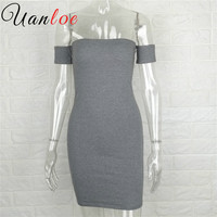 UANLOE 2016 Brand Women Party Dresses Black Short Sexy Robe Cotton Strapless Off Shoulder Casual Bodycon