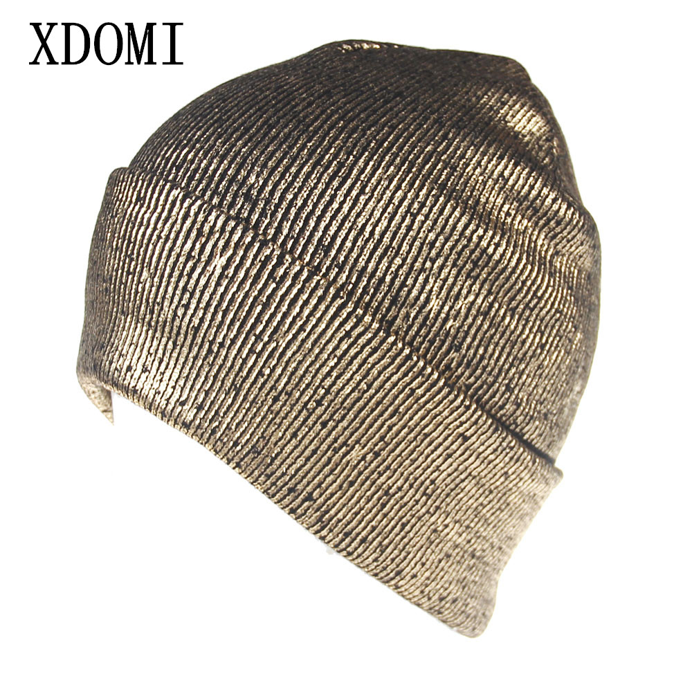 XDOMI New Autumn Winter Has for Women Gold Silver Purple Metallic Unisex Acrylic Knitted Beanie Cap Women/Men Casual Warm Hats