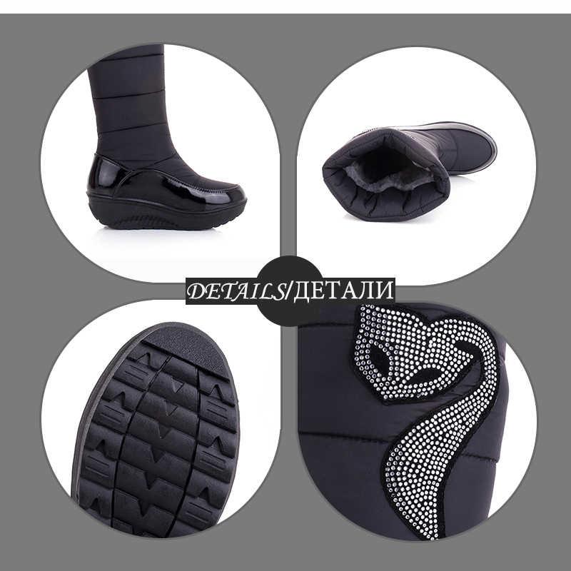 WETKISS 2018 Kış Rusya Sıcak Kar botları Tutmak pamuklu ayakkabılar Kadın Moda Platformu Aşağı Kış Botları Taklidi Orta Buzağı Botları