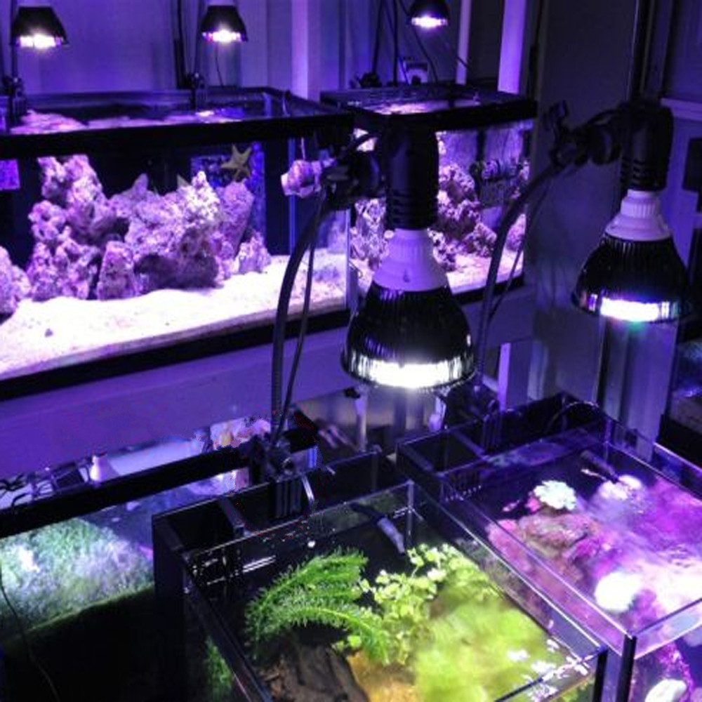 PAR38 Full Spectrum Aquarium LED Lamp E27 54W Led Aquarium Light Coral Reefs Tank Fish Tank Lamp Bulb for Aquatic Plants Growing remote control color fish tank bubble lamp fish tank diving lamp led oxygen lamp aquarium led lamp