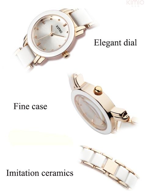 Kimio Brand Women Bracelet Watches Lady Fashion Dress Quartz Watch White Simulated Ceramics Wristwatches Waterproof Clock