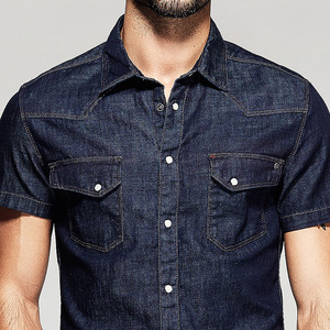 Image 5 - KUEGOU Summer Mens Fashion Denim Shirts Blue Color Pockets Brand Clothing Mans Wear Short Sleeve Slim Fit Jeans Clothes 15502