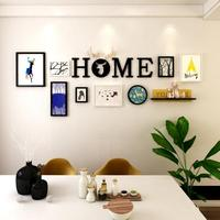 Multi frame Creative living room wall decorations pendant Nordic minimalism photo frame wooden picture frame wall hangings wall