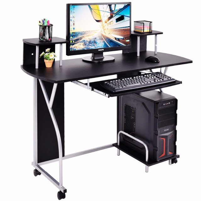Goplus Rolling Computer Desk PC Laptop Desk Pull Out Tray Home Office Workstation Modern Swivel Desks with Shelves HW53738