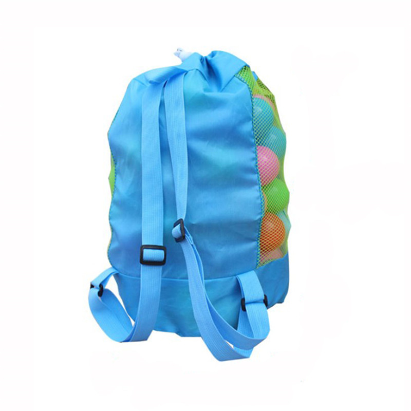 Foldable Beach Toy Bag Sand Away Beach Storage Pouch Tote Mesh Bag Travel Toy Organizer Sundries Net Drawstring Storage Backpack 1