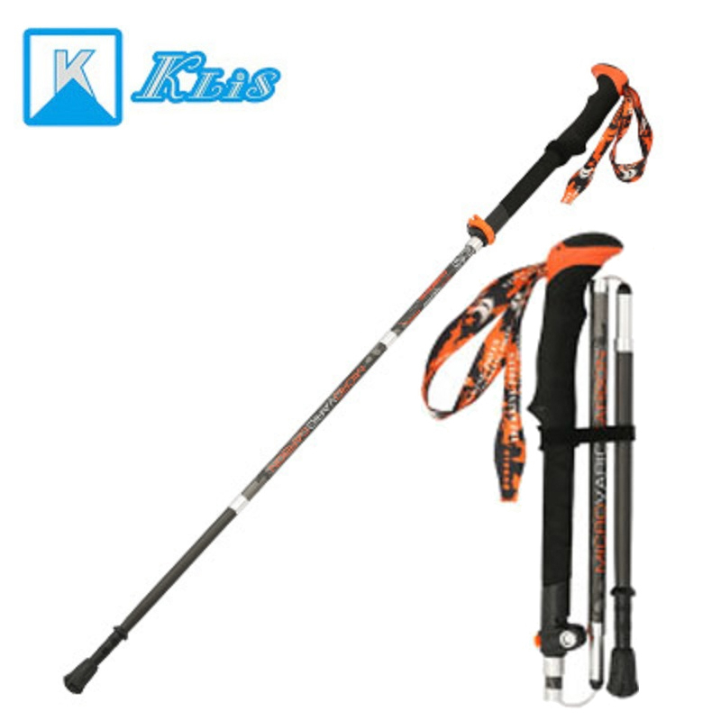 Klis B005 2pcs/lot nordic walking stick trekking pole crutches adjustable carbon fiber alpenstock advanced hiking cane  foldableKlis B005 2pcs/lot nordic walking stick trekking pole crutches adjustable carbon fiber alpenstock advanced hiking cane  foldable
