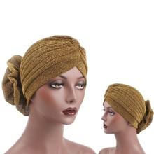 Muslim Women Big Flower Bright Silk Stretch Cotton Turban Hats Chemo Beanie Hijab Pleated Wrap Cover Cap Hair Loss for Cancer