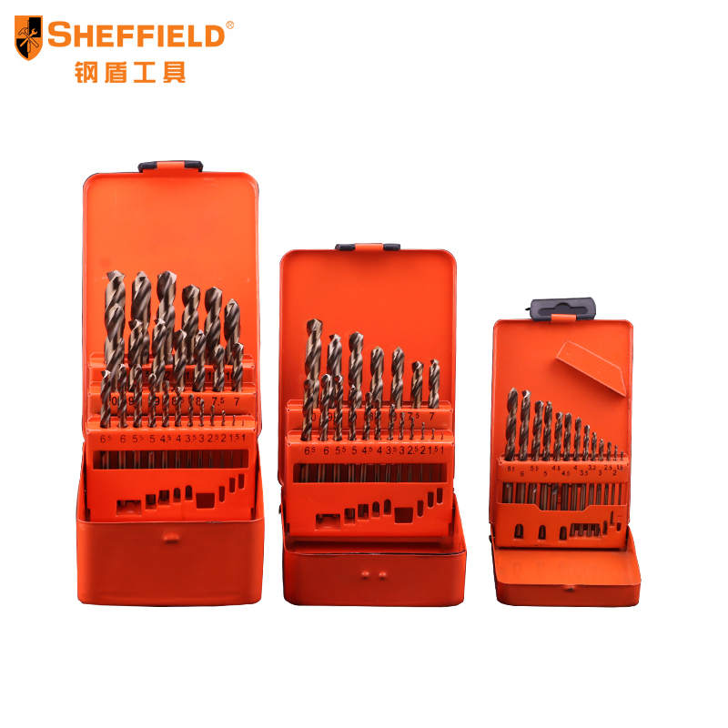 SHEFFIELD high quality Drill bit Set high speed steel with Co twist drill HSS M35 Cobalt Steel Alloys material 1MM-13MM 13pcs lot hss high speed steel cobalt drill bit set 1 5 6 5mm twist drills for thick iron and aluminum 3% co