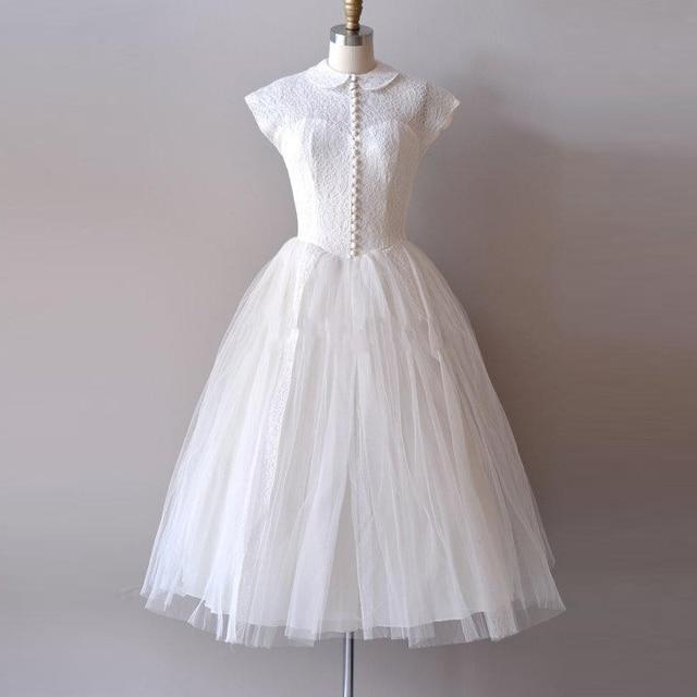 Vintage Vorbehalten Spitze 1950 s Kurze Brautkleider Sheer Peter Pan ...