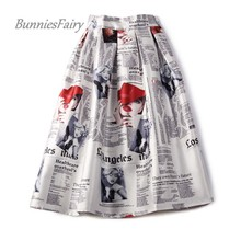 BunniesFairy 2017 Autumn New 50s 60s Vintage Retro Lady Newspaper Print High Waist Pleated Flare Midi Skirt Saia Longa Plissada