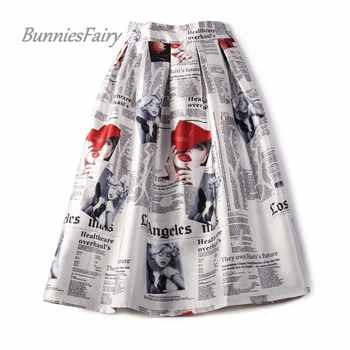 BunniesFairy 2019 Autumn 50s 60s Vintage Retro Lady Newspaper Print High Waist Pleated Flare Midi Skirt Saia Longa Plissada - Category 🛒 Women\'s Clothing