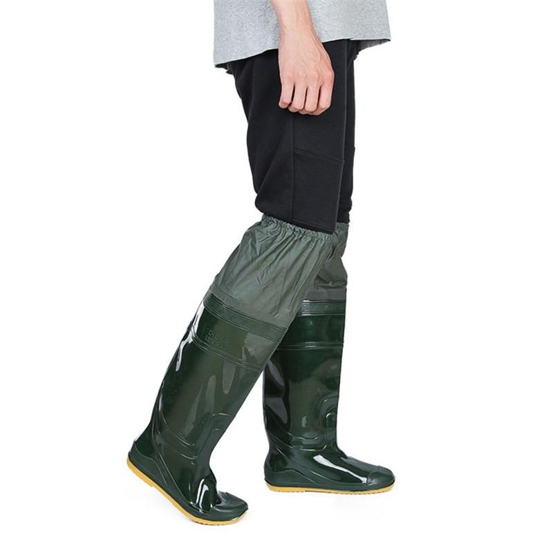 все цены на Lightweight PVC Fishing Waders Boots 360% Rotated Soft Sole Fishing Waders Boot Elastic Belt Overknee Fishing Waders Unisex
