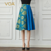 VOA Silk Jacquard A Line Skirts Women Fall Midi Pleated Skirt Retro Blue Floral Print Court Elegant Ladies Large Size C633