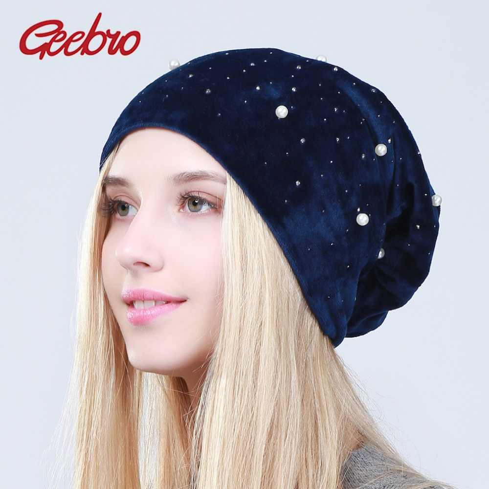 Geebro Women s Winter Velour Beanies Hat 2018 Casual Warm 100% Polyester  Hats Ladies Pearls Rhinestones 557cf3cfff75
