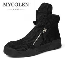 MYCOLEN Men Shoes High-Top Military Ankle Boots Comfortable Leather Plush Motorcycle Boots Black Shoes Tenis Masculino Adulto mycolen new 2018 high top martin boots luxury fashion fashion leather men boots ankle motorcycle boots for male men shoe