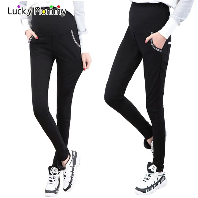 160b00c8f22ab Fashion Maternity Pants Black Skinny Pencil Leggings Spring Summer Pregnancy  Clothes for Pregnant Women Casual Pregnant Clothes
