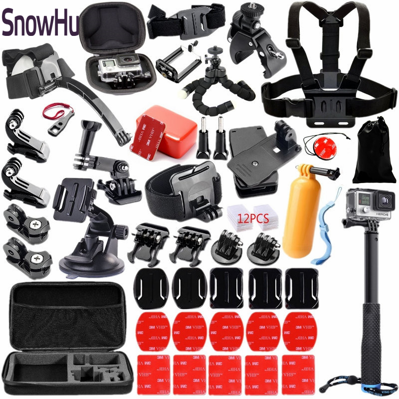 SnowHu For Gopro accessories set for go pro hero5 5s 4 kit Three way selfie stick for Eken h9 xiaomiyi 4K EVA case TZ18 snowhu for gopro accessories set for go pro hero 6 5 4 3 kit mount for sjcam sj4000 for xiaomi yi camera for eken h9 tripod gs21