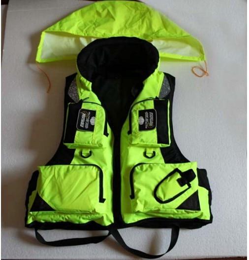 Топ quanlty одежда для рыбалки, спасательный жилет, рыболовный жилет, спасательный жилет для рыбалки с капюшоном L, XL, XXL Размер - Цвет: Зеленый