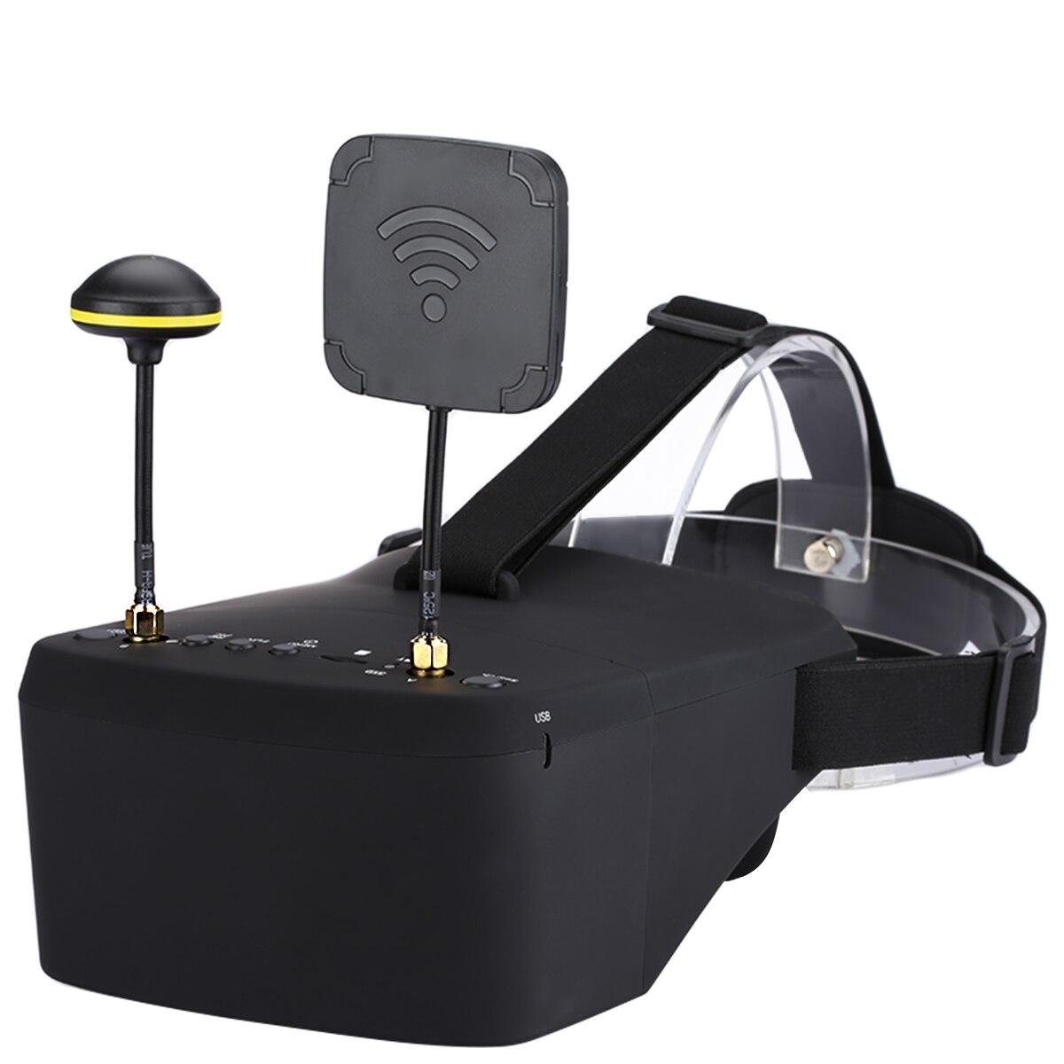 Em Estoque EV800D 5.8G 40CH 5 Polegada 800*480 HD DVR Diversidade FPV Óculos de Vídeo Fone De Ouvido Com Bateria para o Modelo DO RC