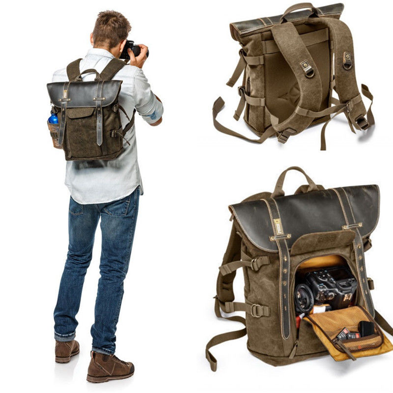 National Geographic NG A5280 font b Camera b font Backpack Brown Canvas bag For 13 Notebook