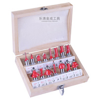 New Arrival High Quality 15pcs Set 1 4 Tungsten Professional Shank Carbide Router Bit Set Wood
