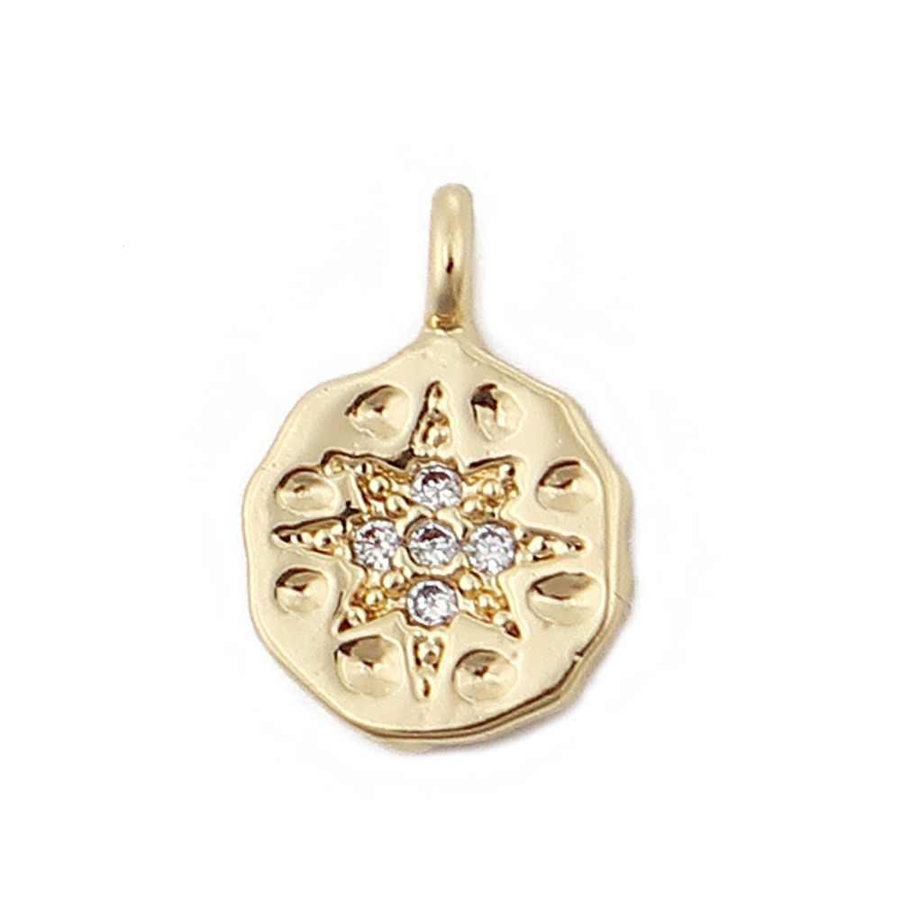 """DoreenBeads נחושת קסמי תליון עגול זהב כסף צבע מלא פרח ברור ריינסטון ממצאי 11mm x 8mm (3/8 """"), 3 PCs"""