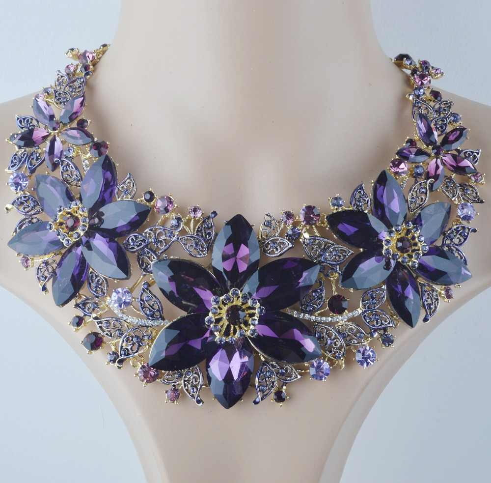 f3f0d1b58d80ee ... Statement Necklace Set Wedding Party Purple color rhinestone Jewelry  sets For Brides Dress Jewelry Accessories Women ...