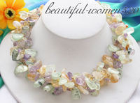 Z4078 3row 18 nature yellow & green & lavender crystal beads necklace
