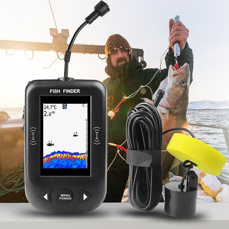 Erchang XF02 C Portable Fish Finder Depth Sonar Sounder Alarm 9m Cable Waterproof Fishfinder Fishing Echo