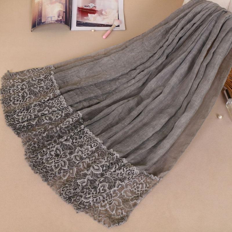 Image 2 - Muslim Amorous Cotton Woman Lace Monochrome Lady Scarf New  Pattern Hijabs Wholesale hijab turban femme turbante mujerIslamic  Clothing