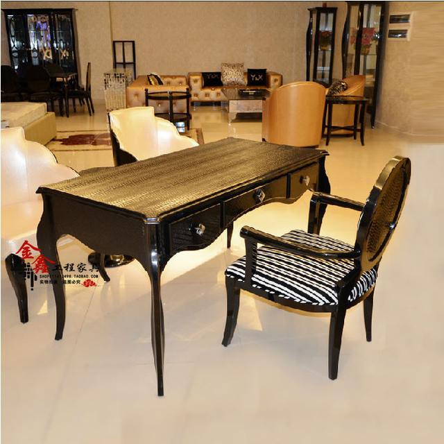 Special Neoclassical Wood Carved Desk IKEA Bedroom Dressing Table Upscale Dining  Room Long Table Model