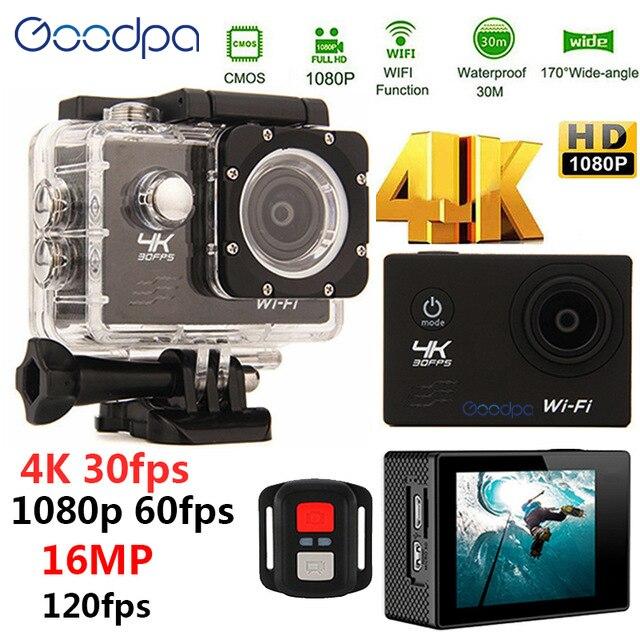 100% Goodpa étanche 4 K Sport Action caméra avec télécommande Ultra HD 4 K WiFi 1080 P/60fps 2.0 LCD 170D lentille Casque Cam sport caméra