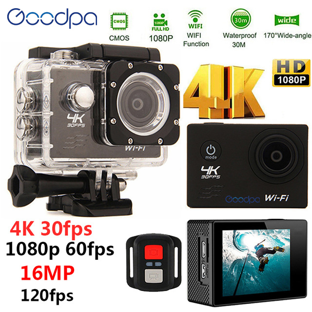 100%Goodpa waterproof 4K Sport Action camera with remote Ultra HD 4K WiFi 1080P/60fps 2.0 LCD 170D lens Helmet Cam sports camera akaso ek7000 action camera ultra hd 4k wifi 1080p 60fps 2 0 lcd 170d lens helmet cam waterproof pro sports camera