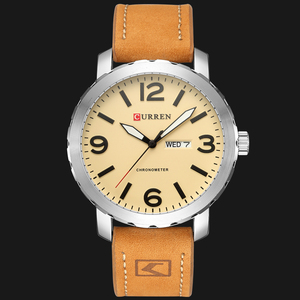 Image 2 - CURRENファッションメンズ腕時計militrayスポーツクォーツ腕時計革防水男性腕時計レロジオmasculino