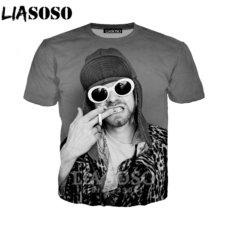 ASOSO Summer New Fashion Men Women Sweatshirt 3D Print Singer Kurt Donald Cobain   T     Shirt   Short Sleeve Harajuku Pullover A226-01