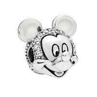 NEW Shimmering Mouse Portrait Clip Charm With CZ fits Pandora Charm Bracelet 925 Sterling Silver DIY Beads Jewelry 2018 Winter