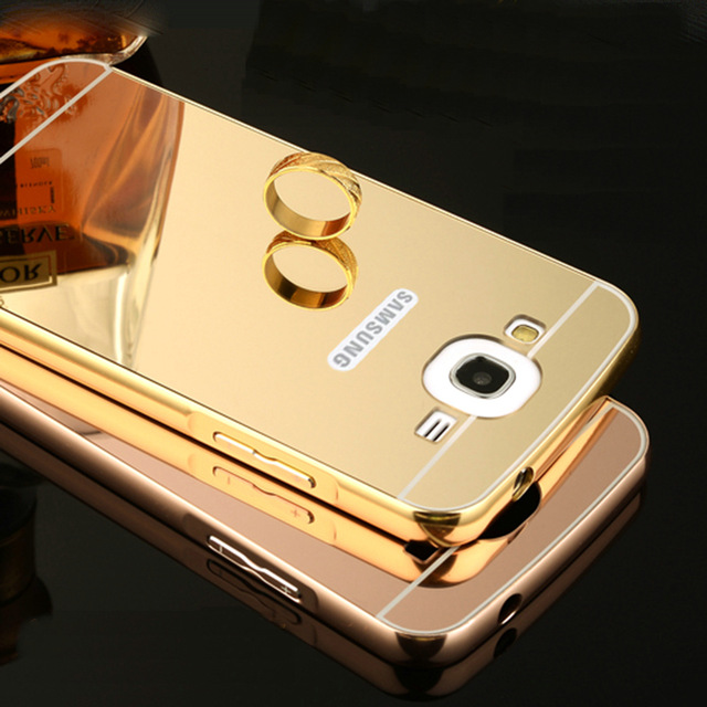 Luxury Woman Lady Girl Mirror Back Cover Case For Samsung Galaxy Win i8552 Aluminum Metal Frame Hot Phone Cases Housing Coque ...