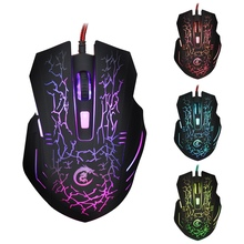 Со Светодиодной подсветкой Игровая Мышь Проводная USB Мышь 5500 ТОЧЕК/ДЮЙМ Регулируемая 6 Кнопки Оптическая Мышь Игры Геймерская Мышь Для Ноутбука ПК