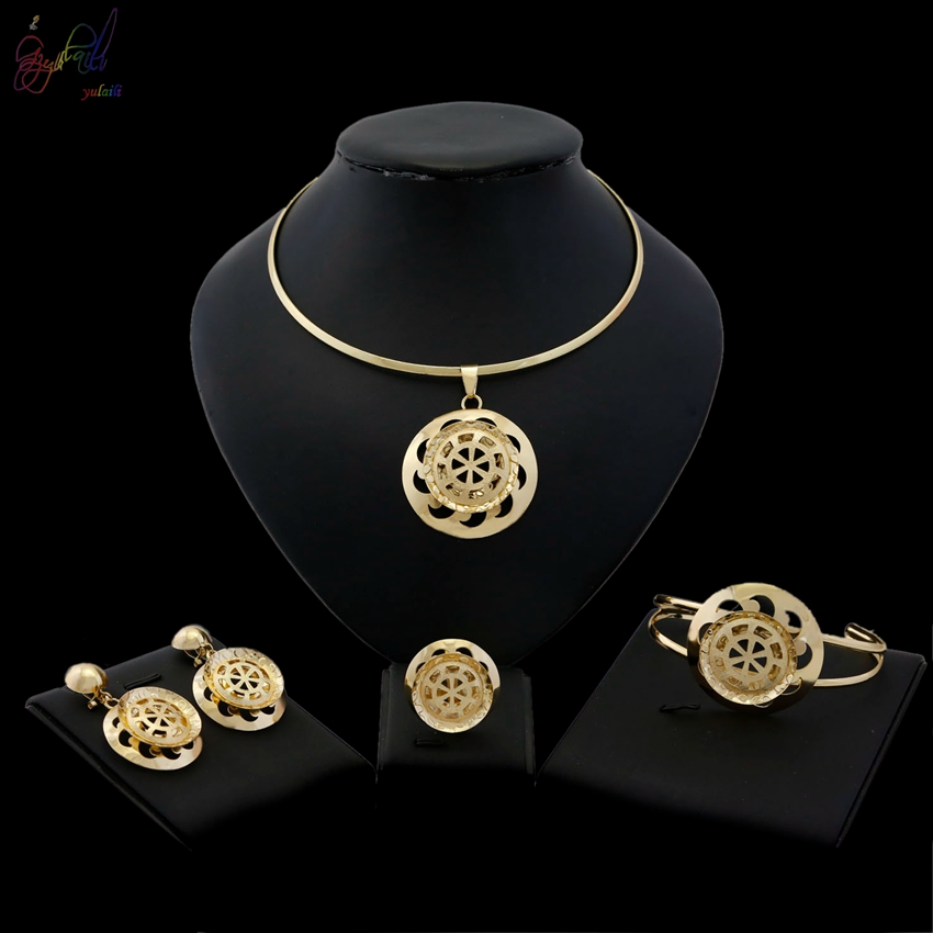 YULAILI Free Delivery Choker Necklace Round Design Big Bangle Gold Color Copper Alloy Jewelry Set lace up filigree alloy choker necklace