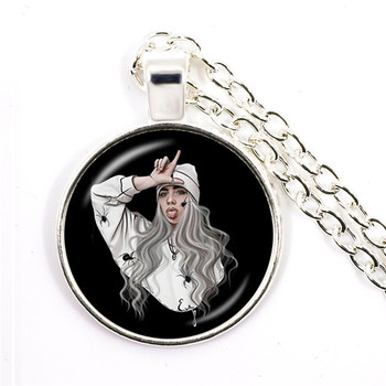 Popular Young Singer Billie Eilish Necklace Art Picture Hip-hop Music 25mm Glass Cabochon Pendant Jewelry For Music Fans Gift