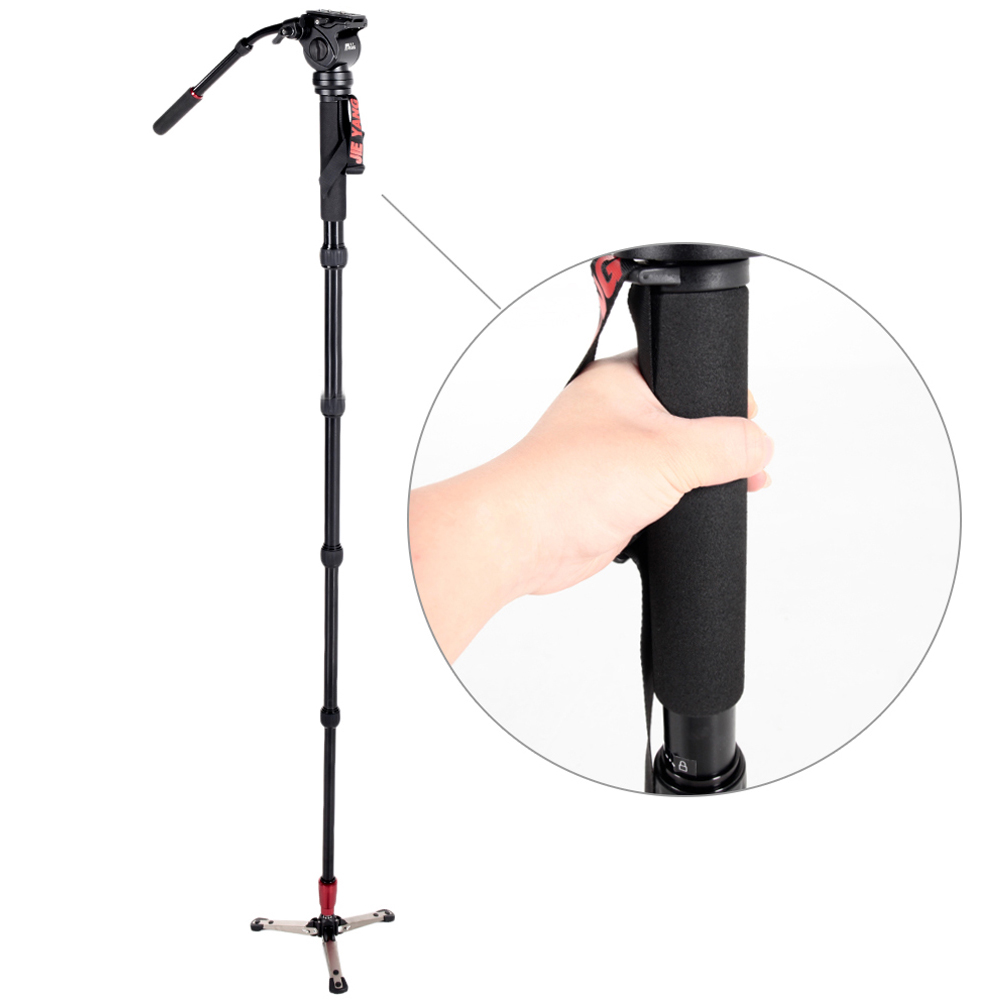 JIEYANG JY0506 Aluminum Alloy Professional Camera Monopod with Fluid Video Pan For DSLR Photography Camera Stand