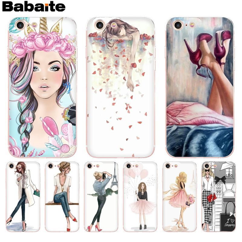 Babaite VOGUE Princess Girl Female Pattern Rubber Soft Phone Accessories Cover for iPhone 8 7 6 6S Plus X XS max 10 5 5S SE XR