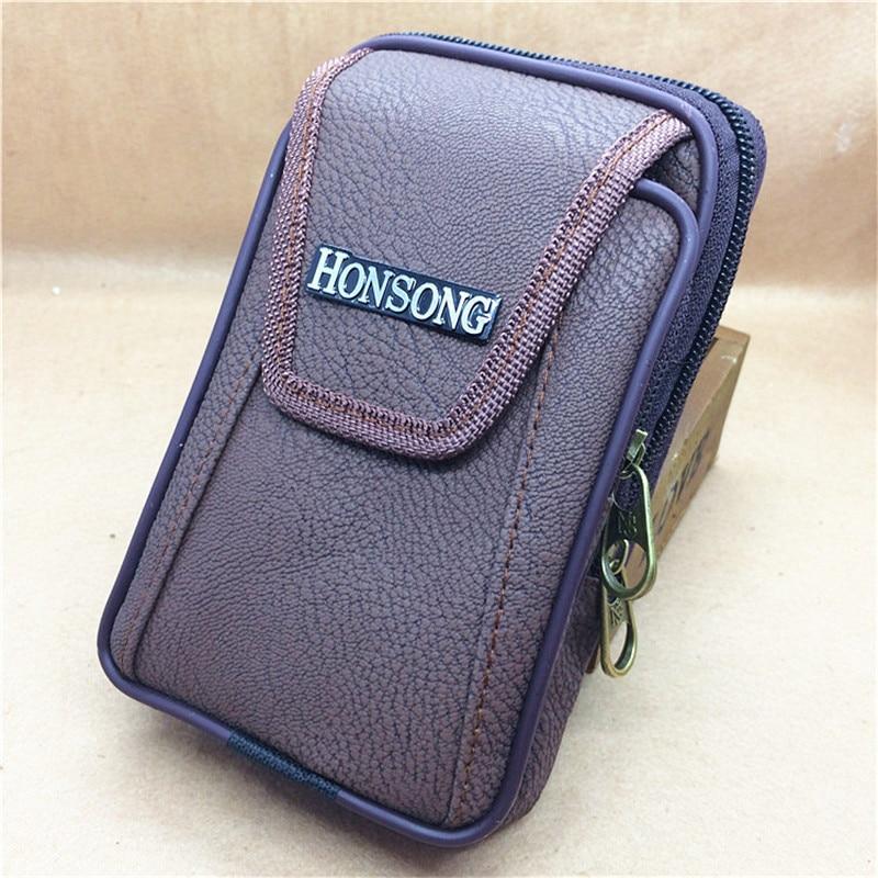 New pu pockets chest bag men's retro leather wallet cash slot zipper pocket belt ring vertical leather phone bag belt pocket 126 все цены