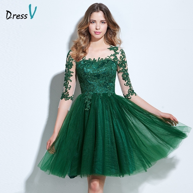 Dressv green appliques homecoming dress A-line scoop neck 3/4 length sleeves button knee-length homecoming&graduation dress