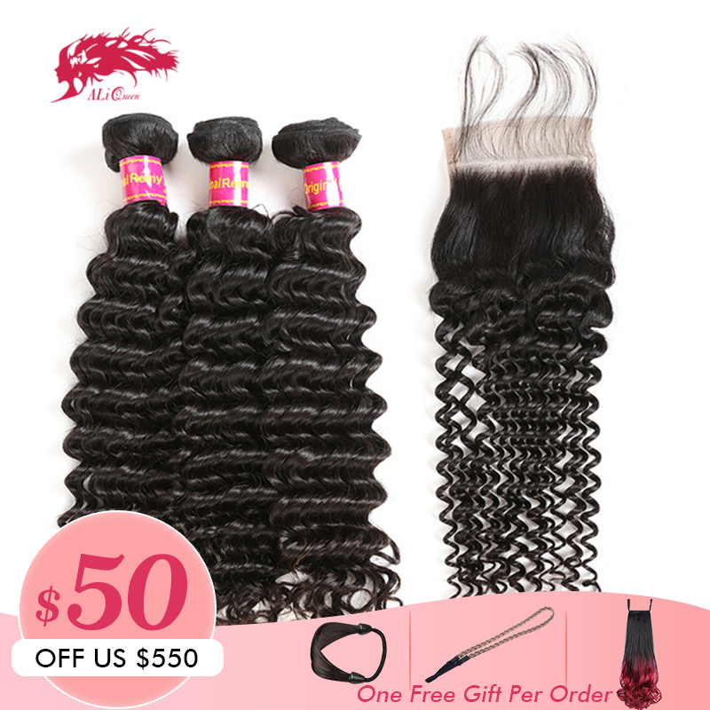 3Pcs Brazilian Deep Wave Hair With Swiss Lace Closure Free Part 8 30inches Ali Queen Hair